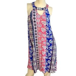 Roxy keyhole neck multi pattern mini dress-S